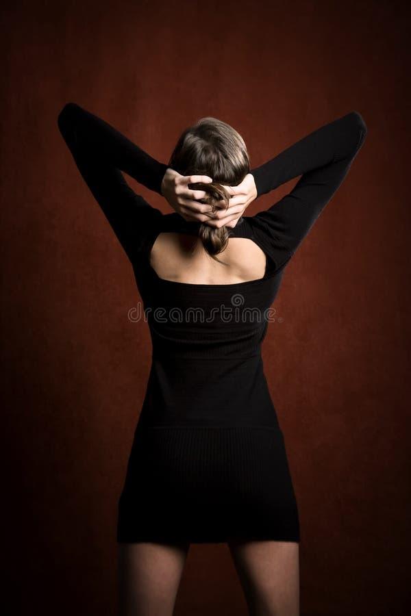 czarny smokingowa ładna kobieta zdjęcie stock