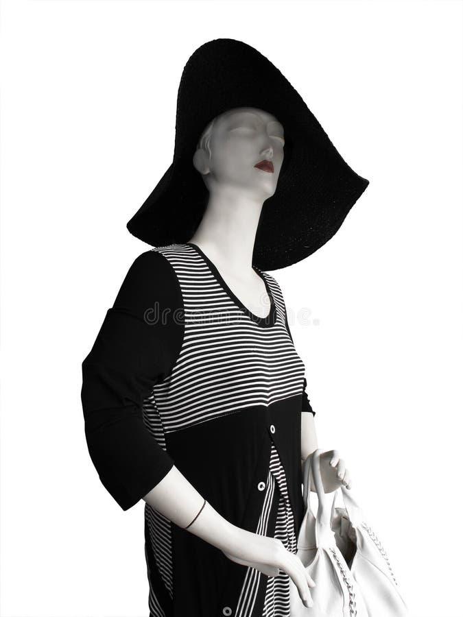 czarny smokingowego kapeluszu wielki mannequin biel obraz stock