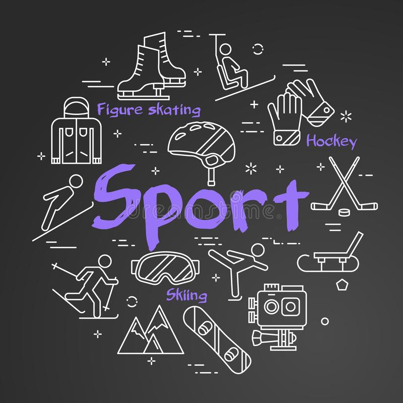 Czarny sport linii pojęcie - kwadratowy sieć sztandar royalty ilustracja
