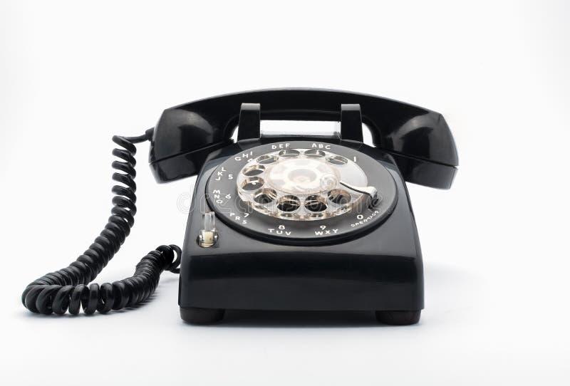 Czarny stary telephon z obrotowym dia zdjęcie stock