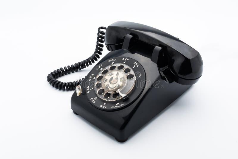 Czarny stary telephon z obrotowym dia obrazy royalty free