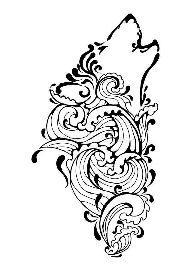 Czarny sylwetka wilka kierowniczy wyć plemienny tatuaż z wodnym elementu lub fala pluśnięcia pojęcia projektem rzeki, morze, ocea royalty ilustracja
