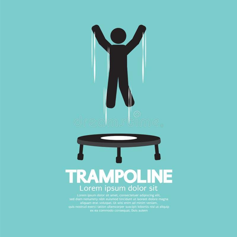 Czarny symbol osoby doskakiwanie Na Trampoline royalty ilustracja