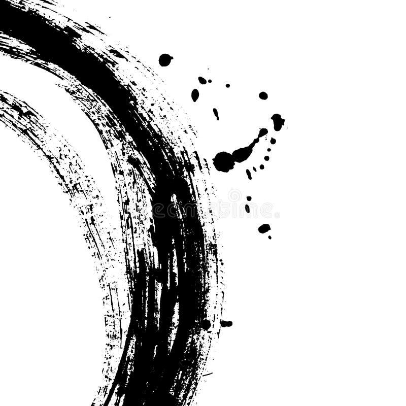Czarny szczotkarski uderzenie w postaci okręgu Rysować tworzę w atramentu nakreślenia handmade technice royalty ilustracja