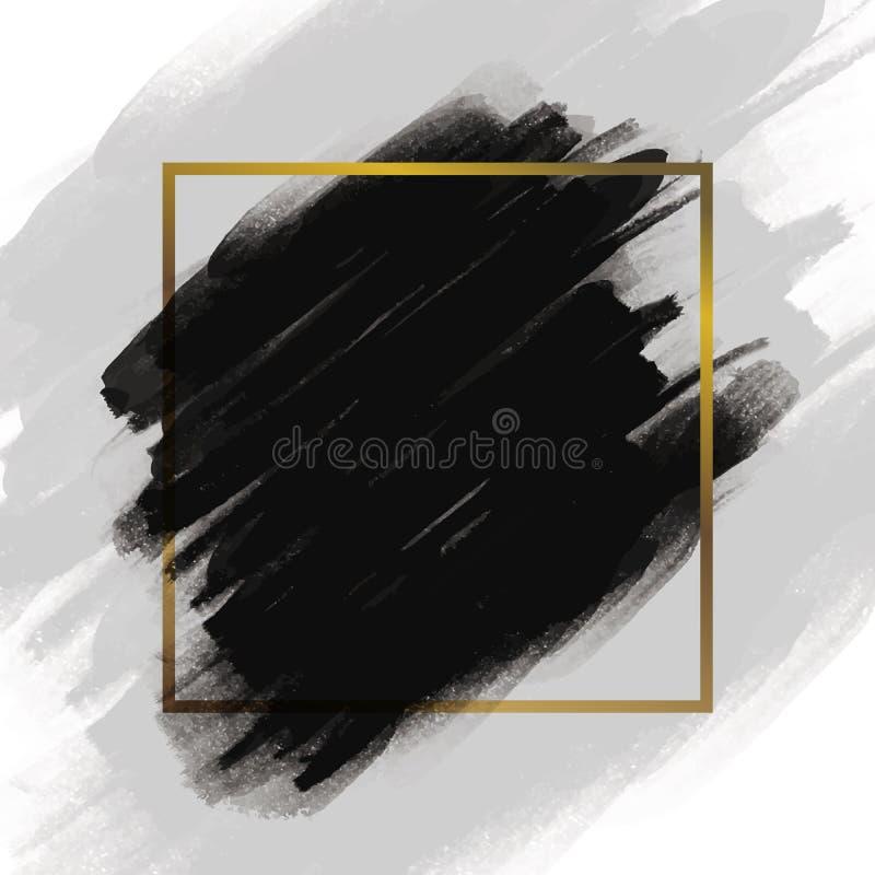 Czarny szczotkarski uderzenie z złoto ramą na białym tle royalty ilustracja