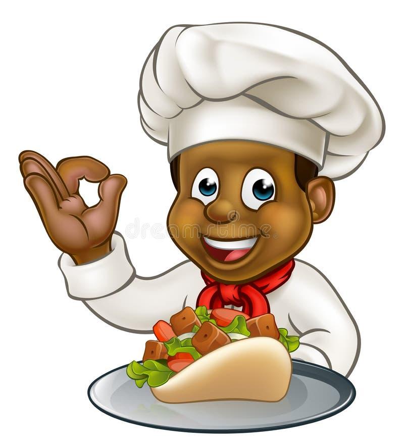 Czarny szef kuchni Trzyma Kebab royalty ilustracja