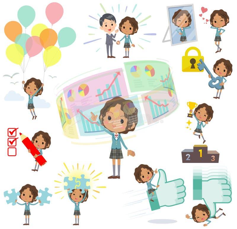 Czarny szkolny dziewczyna pozytyw & sukces ilustracja wektor