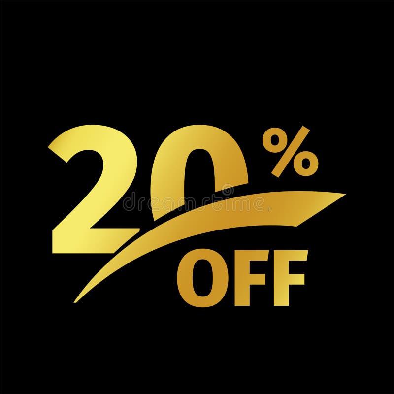 Czarny sztandaru rabata zakup 20 procentów sprzedaży wektorowy złocisty logo na czarnym tle Promocyjna biznesowa oferta dla royalty ilustracja