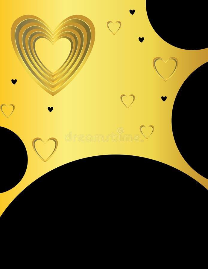 czarny tła złotego serca royalty ilustracja