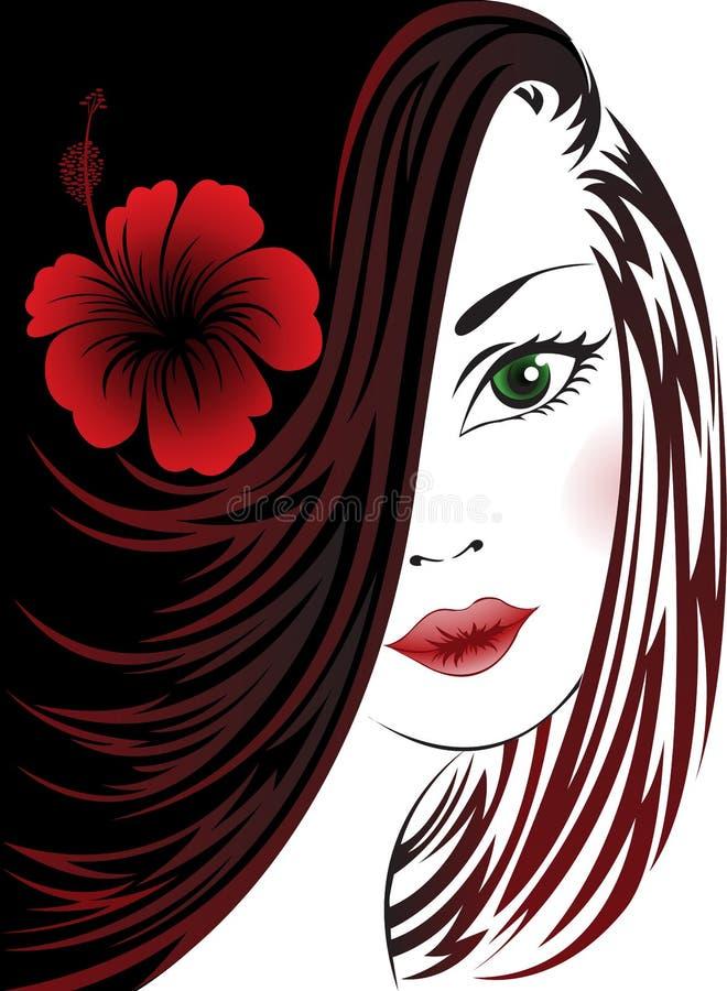 czarny tło biała kobieta ilustracji