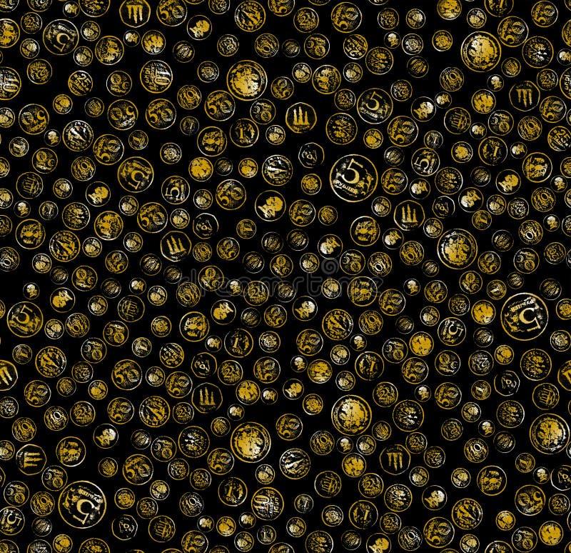 czarny tło monety obrazy stock