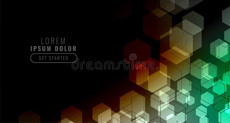 Czarny tło z kolorową heksagonalną siatką ilustracji