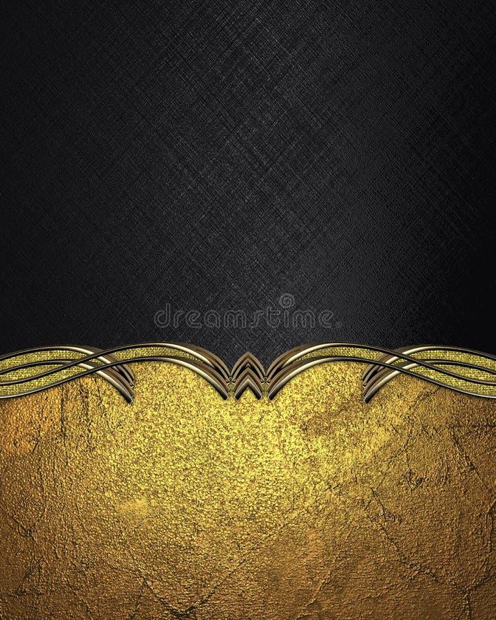 Czarny tło z złoto wzorem Szablon dla projekta odbitkowa przestrzeń dla reklamy broszurki lub zawiadomienia zaproszenia, abstrakc obrazy royalty free