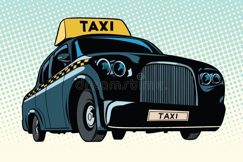 Czarny taxi z żółtym znakiem ilustracja wektor
