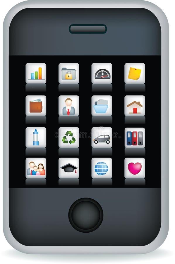czarny telefon komórkowy ekranu dotyk ilustracji