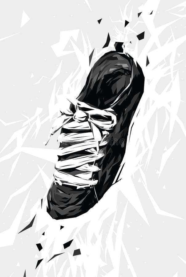 Czarny Tenisówka ilustracja wektor
