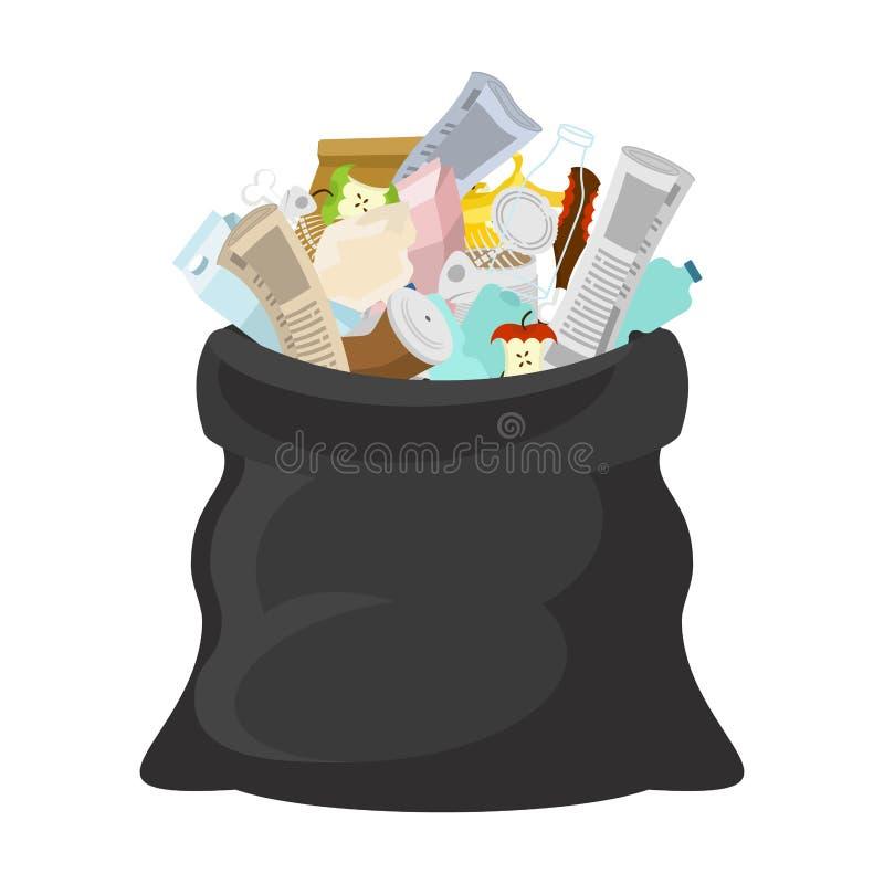 Czarny torba na śmiecie otwarty workowe banialuki sackful grat ściółka siuśki royalty ilustracja
