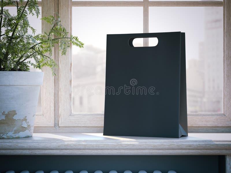 Czarny torba na zakupy na nadokiennym parapecie świadczenia 3 d zdjęcie stock