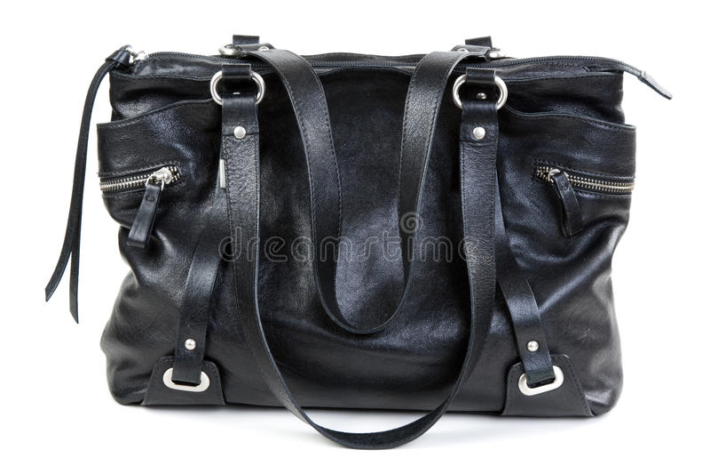 czarny torebki dam skóra zdjęcia stock