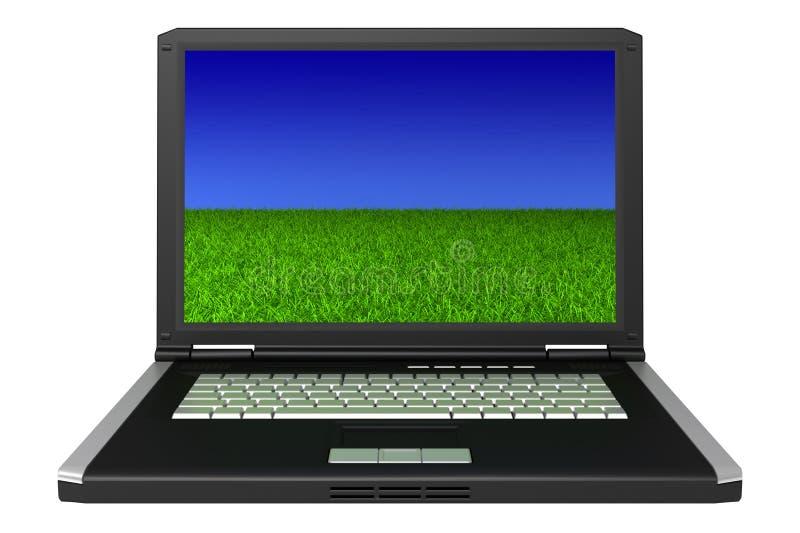 czarny trawa laptopa ekranu niebo zdjęcia stock