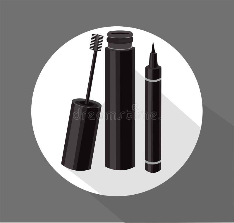 Czarny tusz do rzęs muśnięcia wektor Eyeliner kosmetyków szablon ilustracji