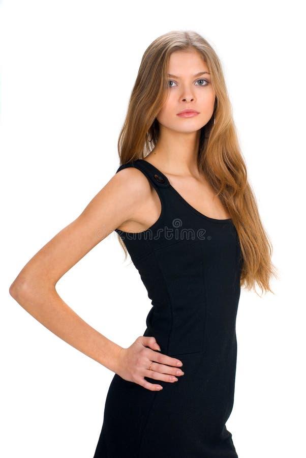 czarny ubiór dziewczyny slim zdjęcie royalty free