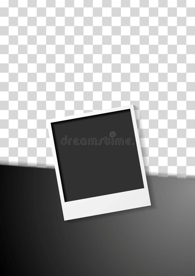 Czarny ulotka projekt z polaroid fotografii ramą royalty ilustracja