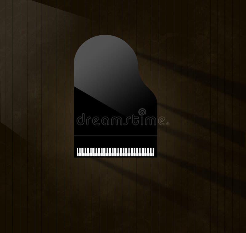 Czarny uroczysty pianino odbija miękkie główne atrakcje zobaczy z góry na starzejącej się i martwiącej drewnianej sceny podłodze  ilustracji