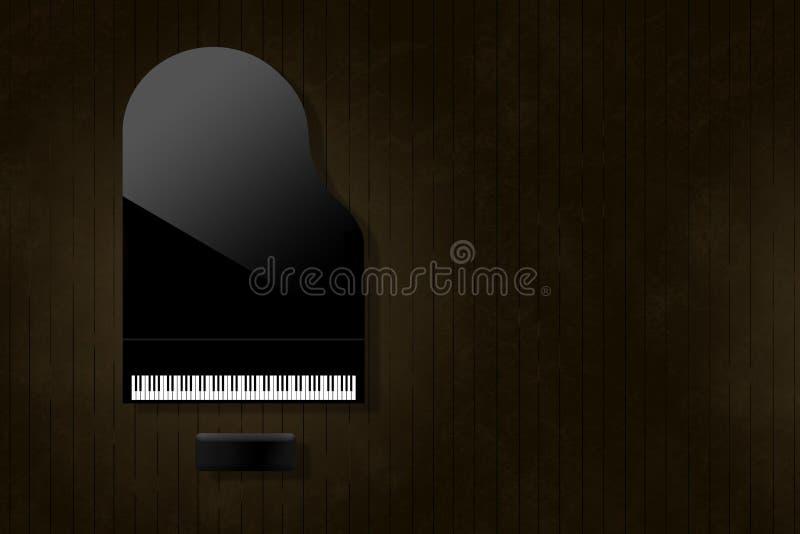 Czarny uroczysty pianino odbija miękkie główne atrakcje zobaczy z góry na starzejącej się i martwiącej drewnianej sceny podłodze  royalty ilustracja