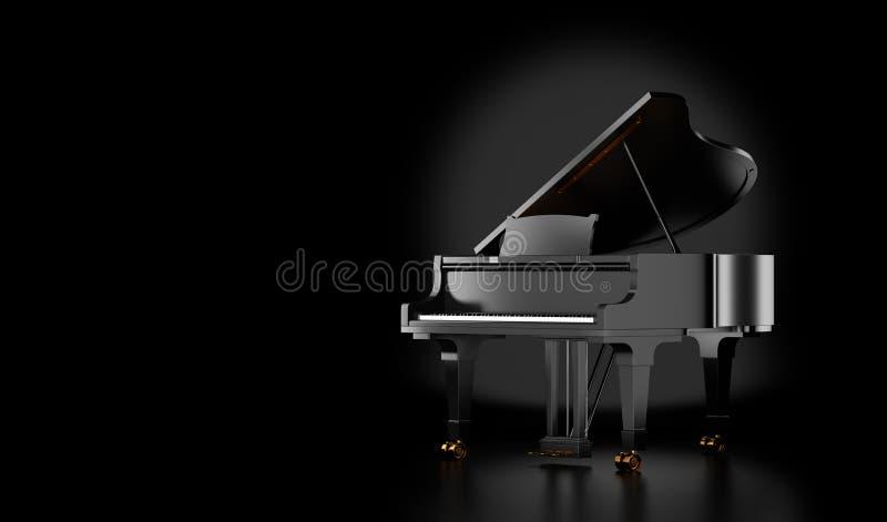 Czarny uroczysty pianino odizolowywający na czerni royalty ilustracja
