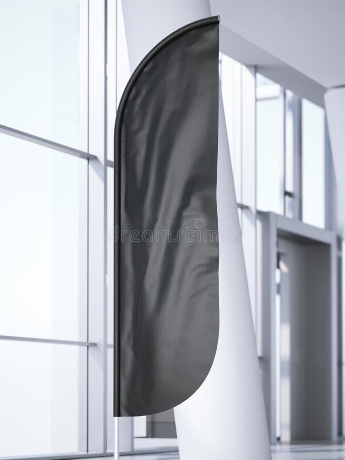 Czarny vertical wiatru sztandar w biurowym wnętrzu świadczenia 3 d royalty ilustracja