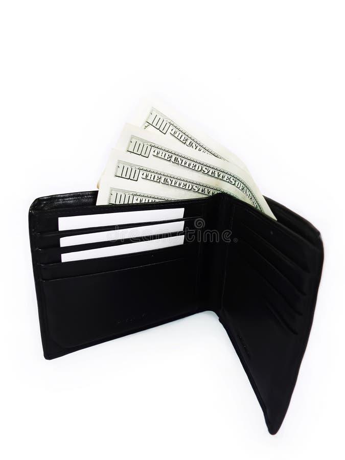Czarny Walllet z paczką dolary obrazy royalty free