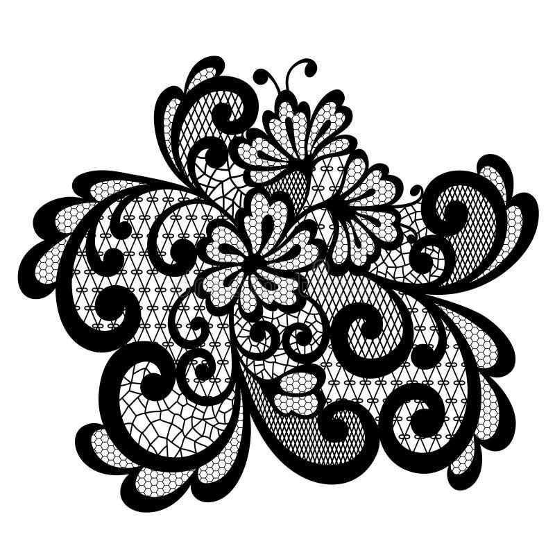 Czarny wektor koronki ornament ilustracja wektor