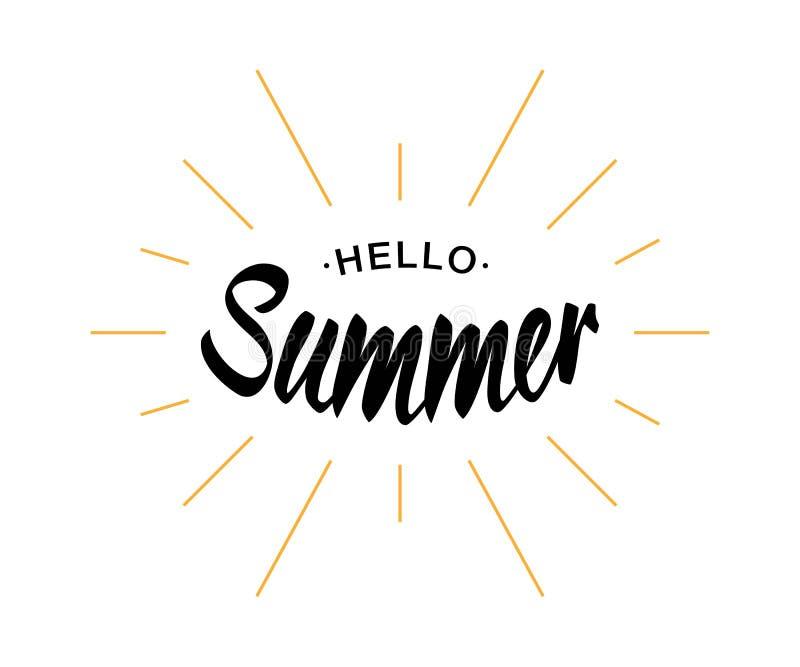 Czarny Wektorowy literowania lato z żółtymi słońce promieniami odizolowywającymi na białym tle Cześć royalty ilustracja