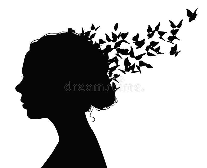 Czarny wektorowy portret kobieta lata od jej włosy z motylami ilustracji