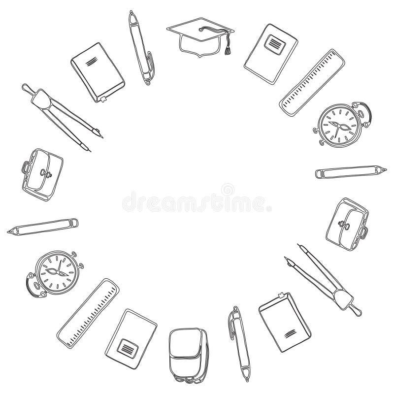 czarny white 1 Wrzesień i Z powrotem szkoła Round rama szkolne dostawy kolorystyka royalty ilustracja