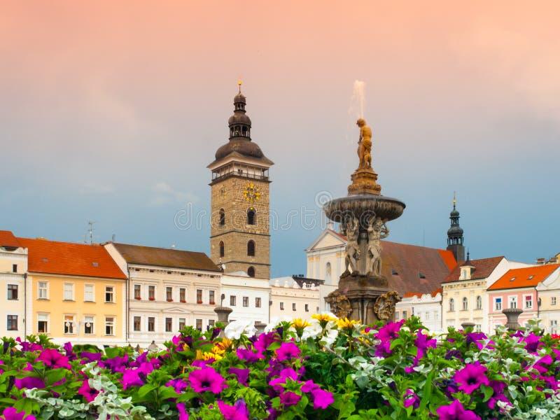 Czarny wierza i Samson fontanna w Ceske Budejovice obraz stock
