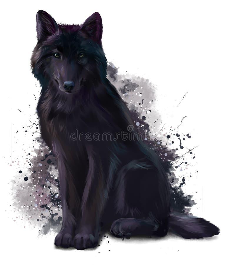 Czarny wilczy obsiadanie na ziemi ilustracja wektor