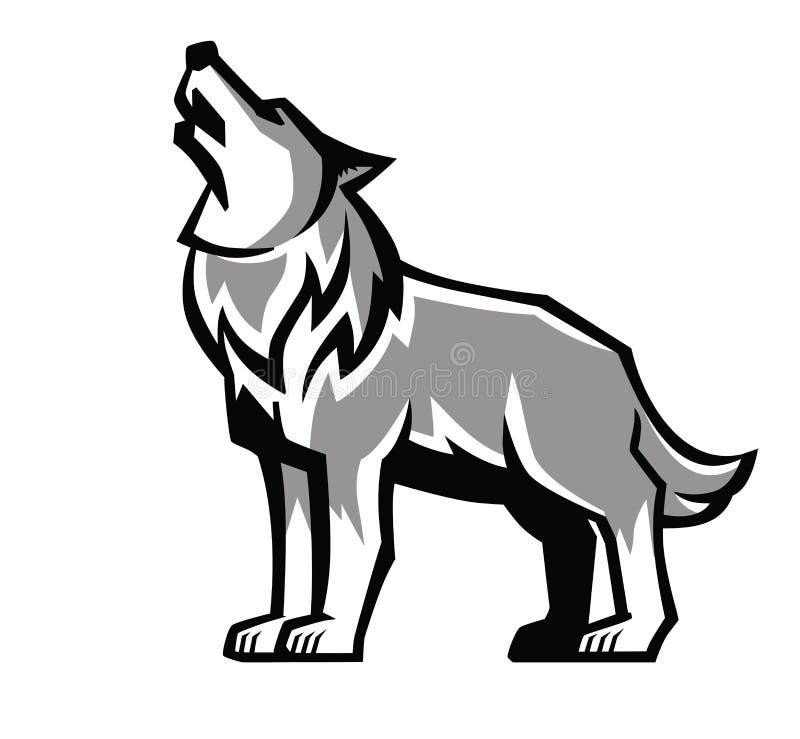 Czarny wilczy wycie emblemat royalty ilustracja