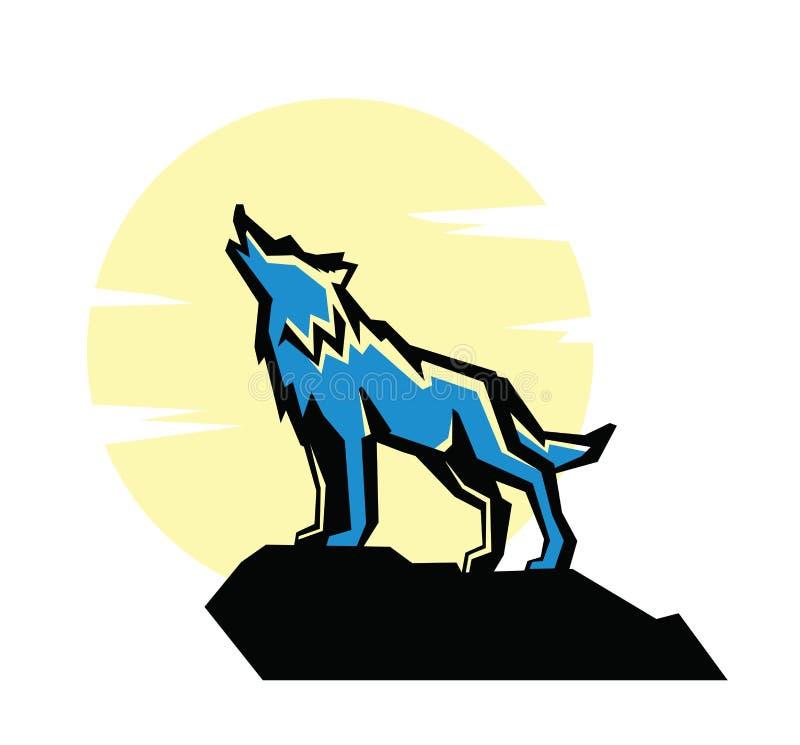 Czarny wilczy wycie emblemat ilustracji