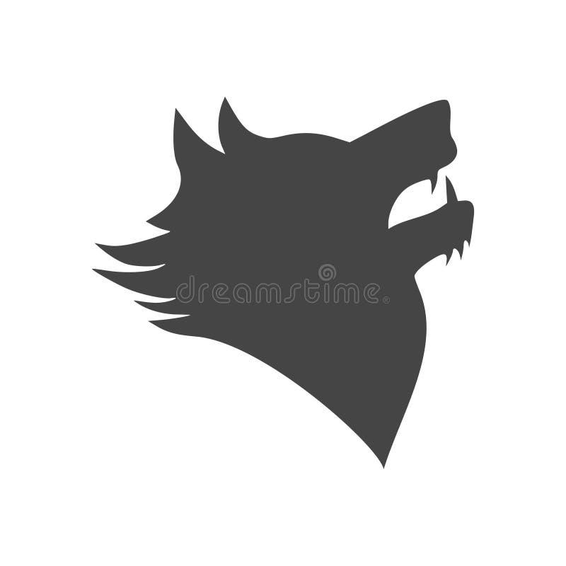 Czarny wilczy wycie logo lub emblemat ilustracja wektor