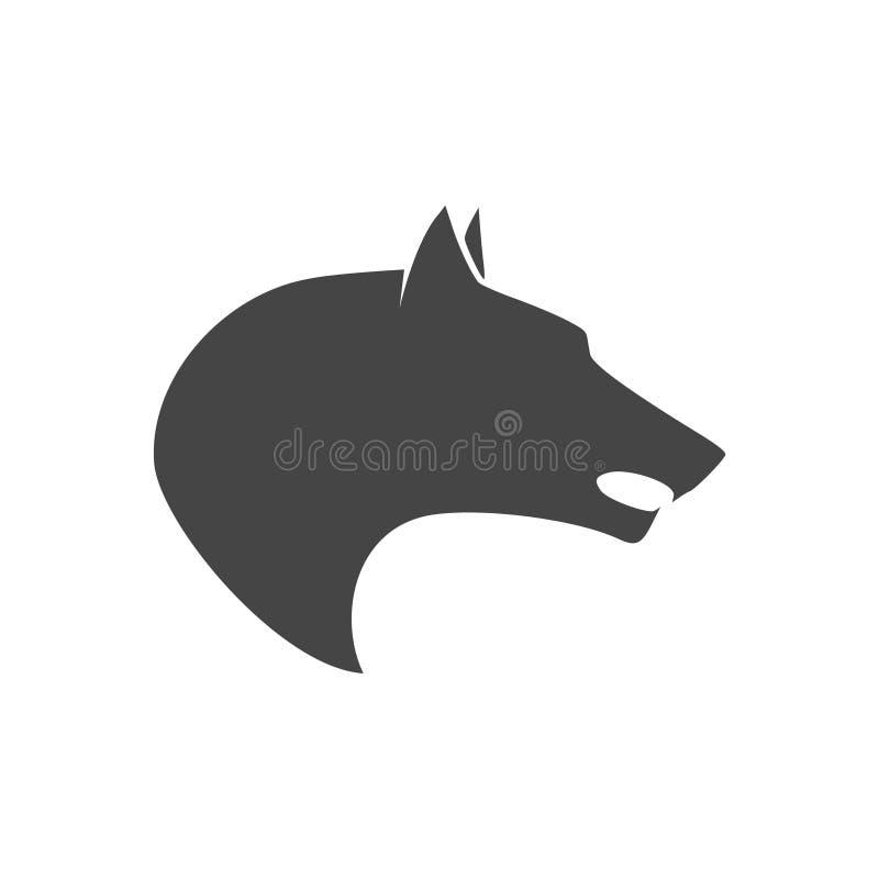 Czarny wilczy wycie logo lub emblemat ilustracji