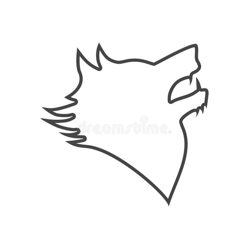 Czarny wilczy wycie logo lub emblemat royalty ilustracja
