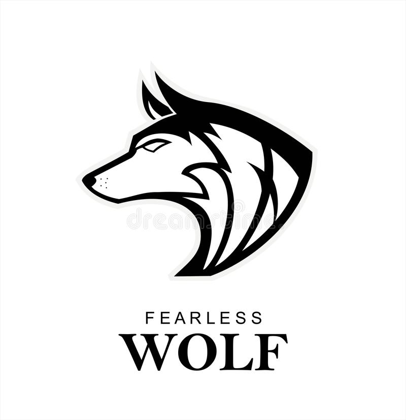 Czarny wilk, Dziki wilk Czarny dziki pies k-9, Psi logo, Z rodziny psów logo royalty ilustracja