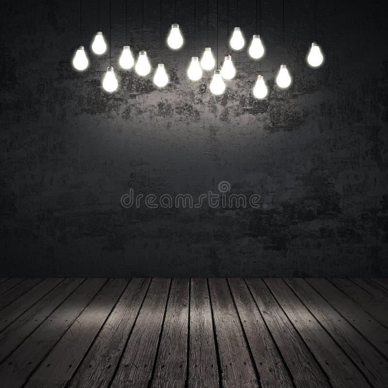 Czarny wnętrze z żarówkami fotografia stock