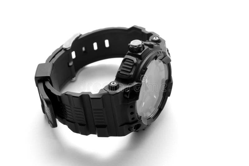 Czarny wristwatch odizolowywający na białym tle fotografia royalty free