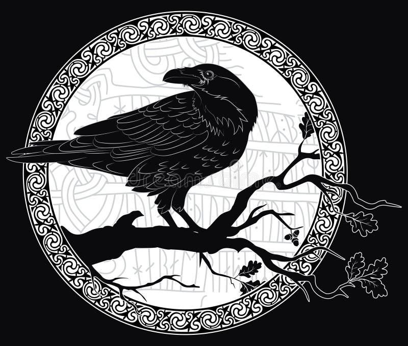 Czarny wroni obsiadanie na gałąź dębowy drzewo i Skandynawscy runes, rzeźbiący w kamień ilustracji