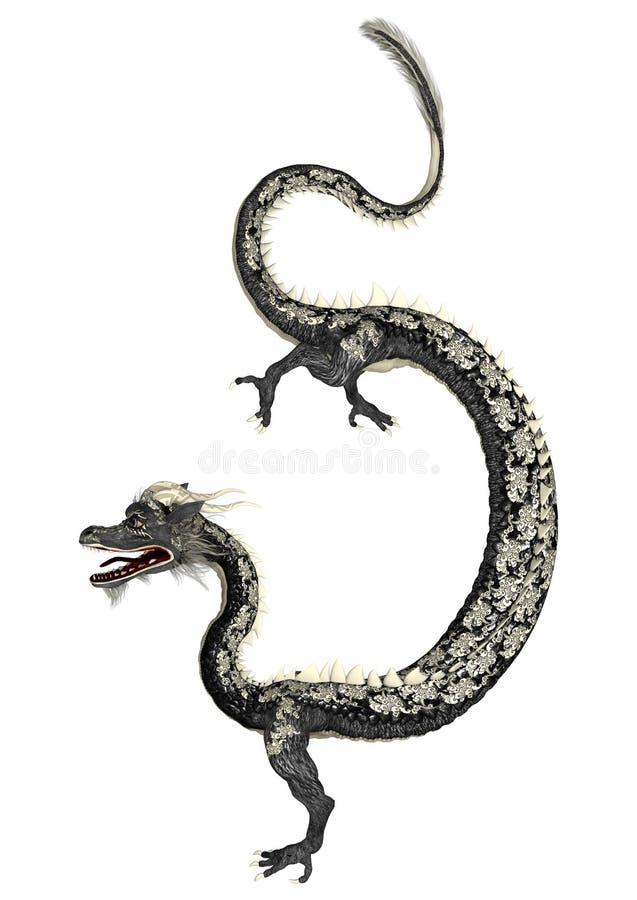 Czarny Wschodni smok royalty ilustracja