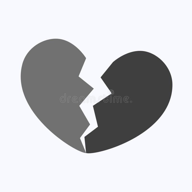 Czarny z?amane serce lub zaw?d mi?osny ilustracja wektor
