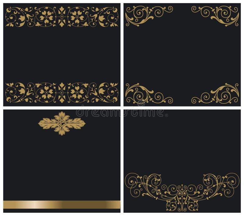 czarny złociści ornamenty ilustracja wektor